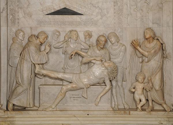 S.Antonio e il miracolo del piede riattaccato. Altorilievo di Tullio Lombardo, 1525. Padova,Basilica di S.Antonio,Cappella dell'Arca. Foto dopo i restauri del 2009