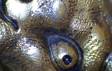 Particolare del drago di San Todaro dopo la pulitura